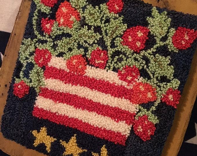 Primitive Punchneedle Embroidery Strawberrie Celebration