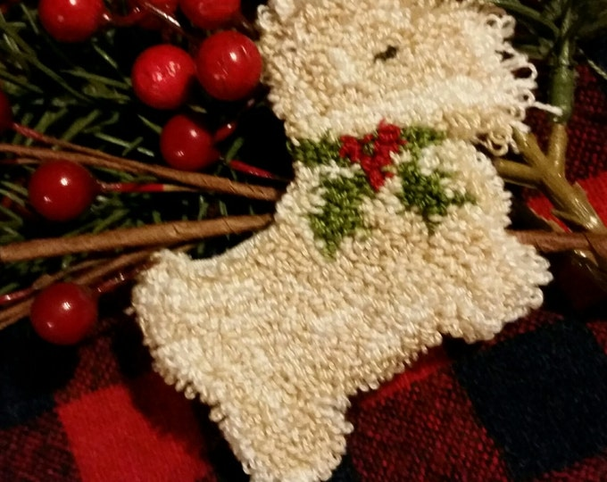 Primitive Punchneedle Holiday Westie Pin  Pattern