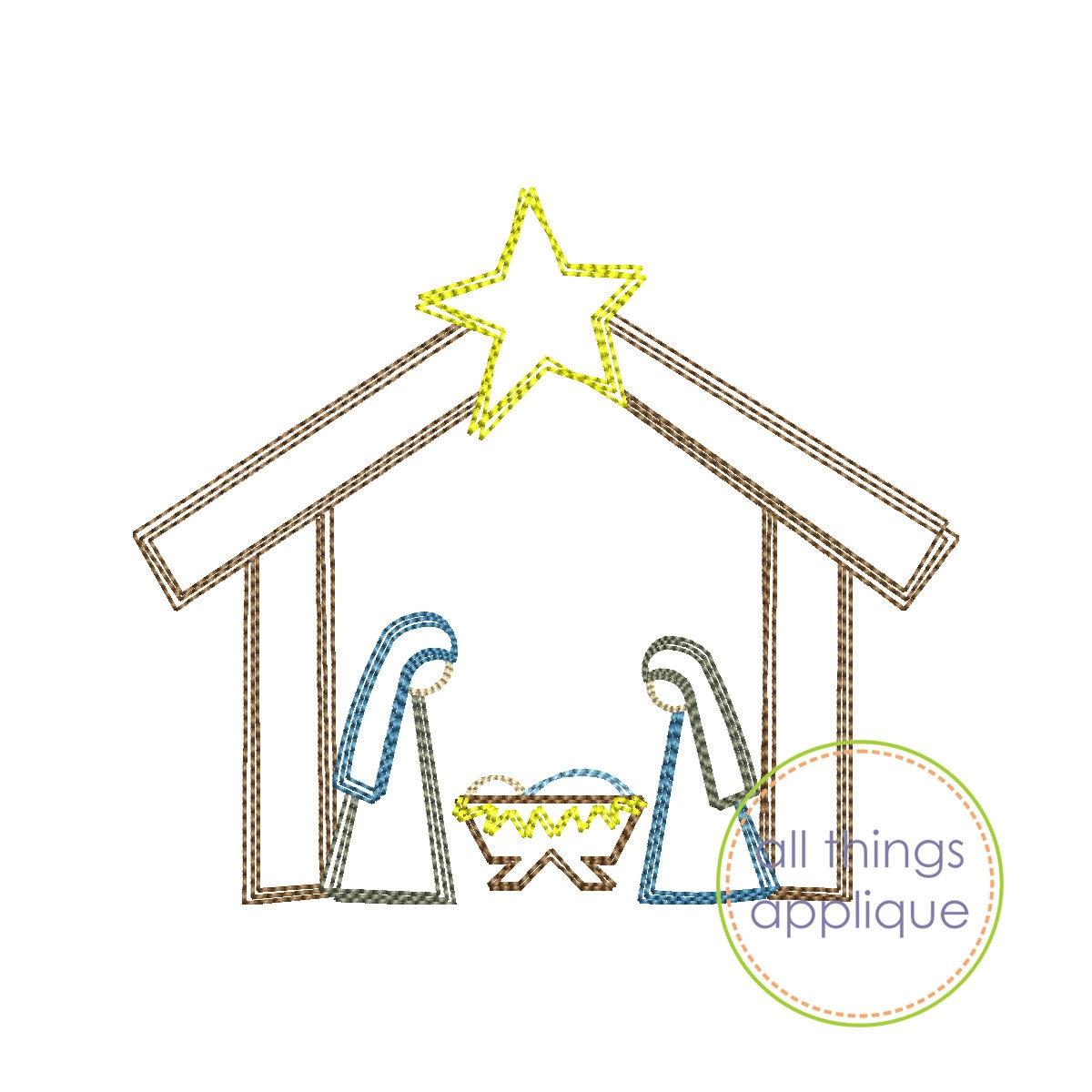 Nativity Szene Stickerei Design Skizze schnell Stich   Etsy