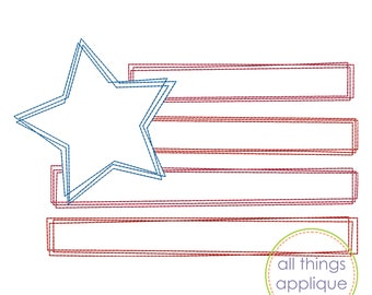 Funky Flag SKETCH Stitch Applique Design - Patriotic 4th of July Flag Embroidery (#1132) - INSTANT DOWNLOAD