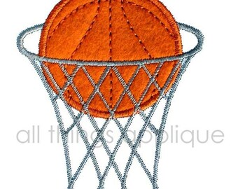 Applique Design - Basketball in Goal - INSTANT DOWNLOAD
