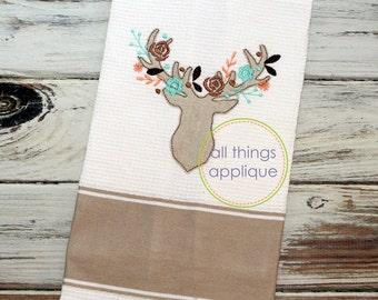 Floral Deer Applique Design - 4 Sizes - INSTANT DOWNLOAD