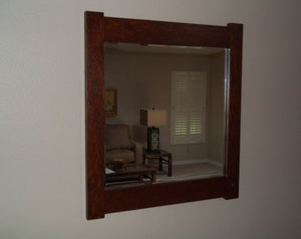 """Quartersawn White Oak Mirror Arts and Crafts Mission Craftsmen Style overall 19"""" X 21"""" Handcrafted/Handmade"""