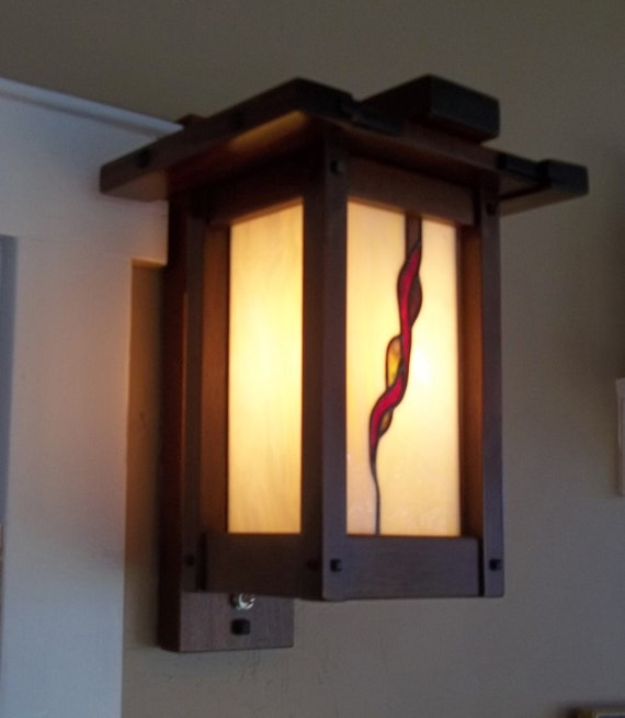 Arts & Crafts Greene and Greene Wall Sconce Stain Glass