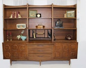 Mid Century Modern Broyhill Sculptra wall unit with drop front desk