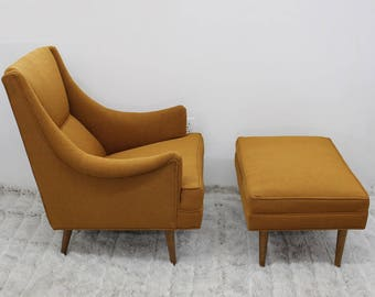 Mid Century Modern Milo Baughman for James Inc arm chair and ottoman upholstery
