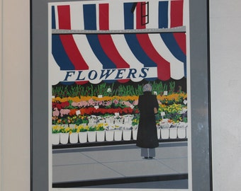 Mid Century Modern, painting Flower shop