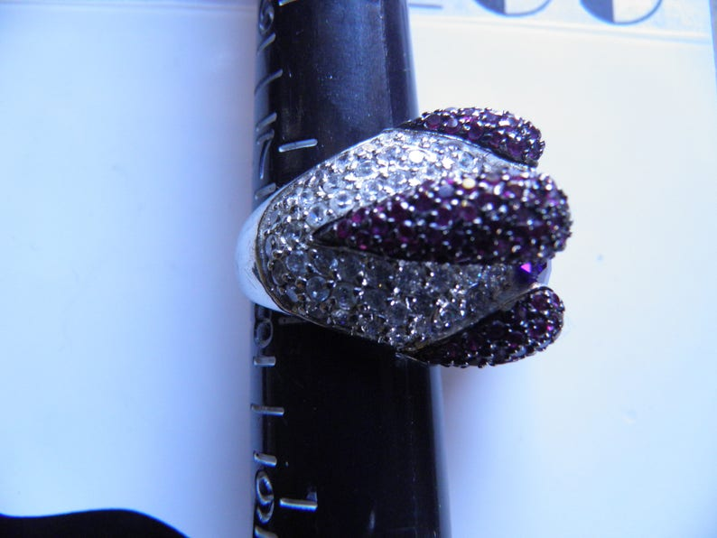Old Hollywood Glitz. Dramatic Breathtaking Simulated Diamond Ruby and Garnet Designer Ring