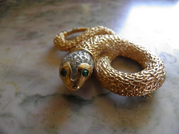 Signed Vintage Panetta Snake Brooch, Pin