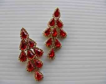 Rhinestone Drop Dangle Pieced Earrings