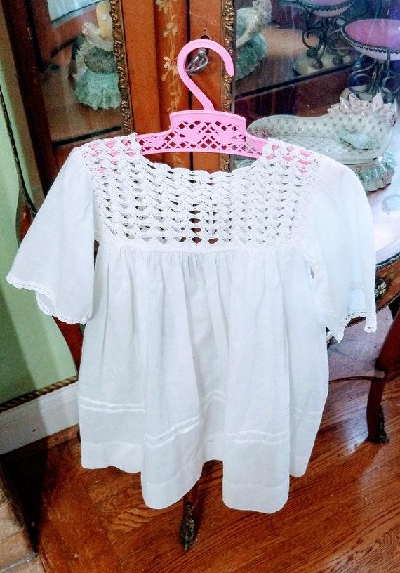 Darling Hand Crochet, White Antique Childs Dress.