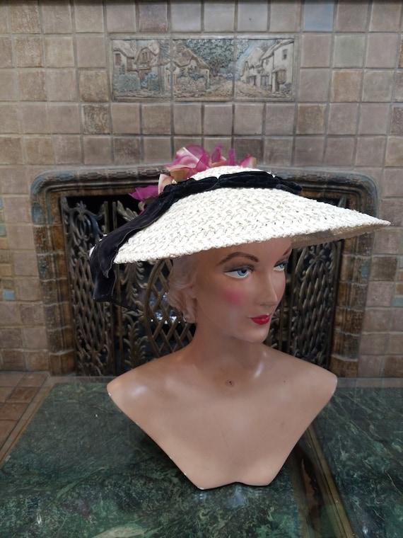 Antique Pinwell Hat, Victorian Straw.