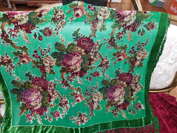 Emerald Green and Rose Pinks French Piano Shawl, T