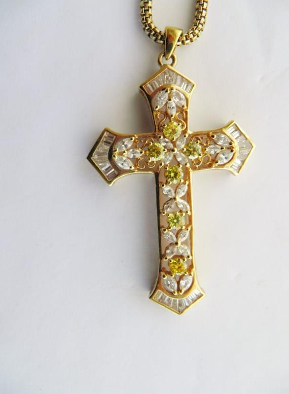 Cross Pendant, Simulated, Man Made, Faux Diamond a