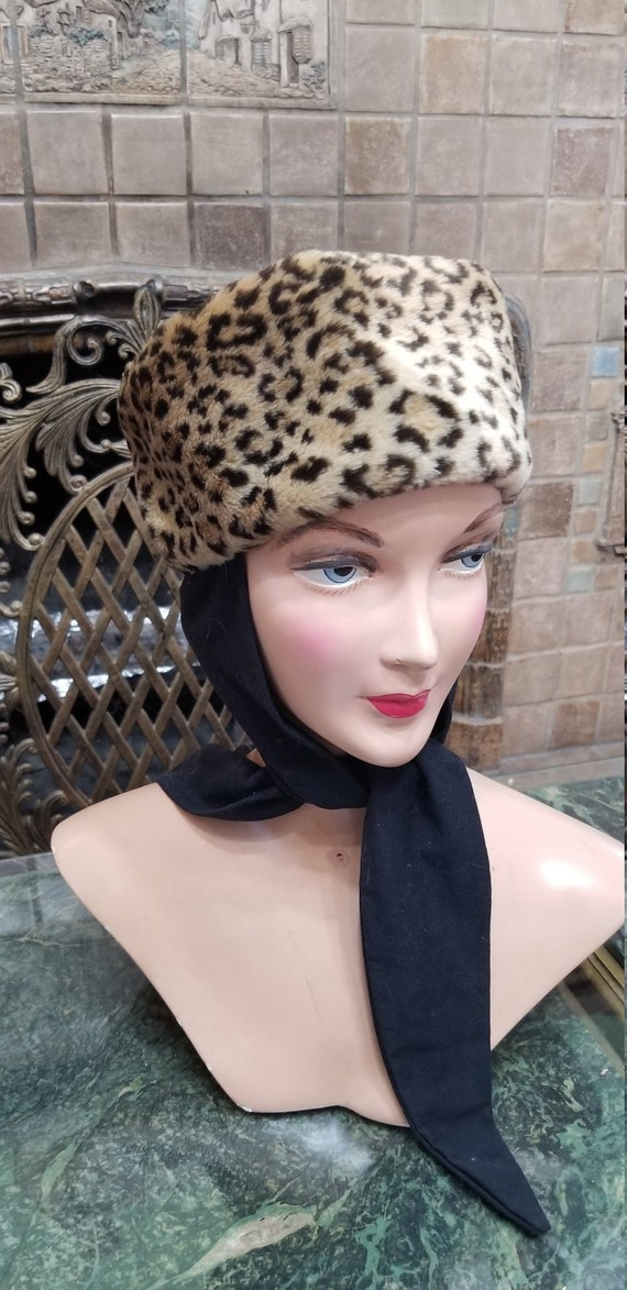 Anitque French Leopard Print Deco Hat