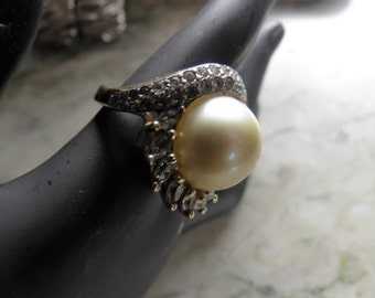 Pearl and Diamond (faux) Estate Ring. Signed Panetta. Very French by Design