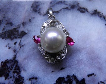 Simulated Diamond, Ruby and Pearl Pendant