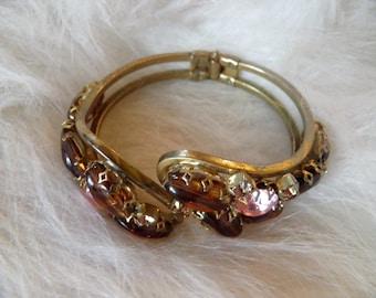 Juliana Rootbeer and Pink Rhinestones Clamper Bracelet