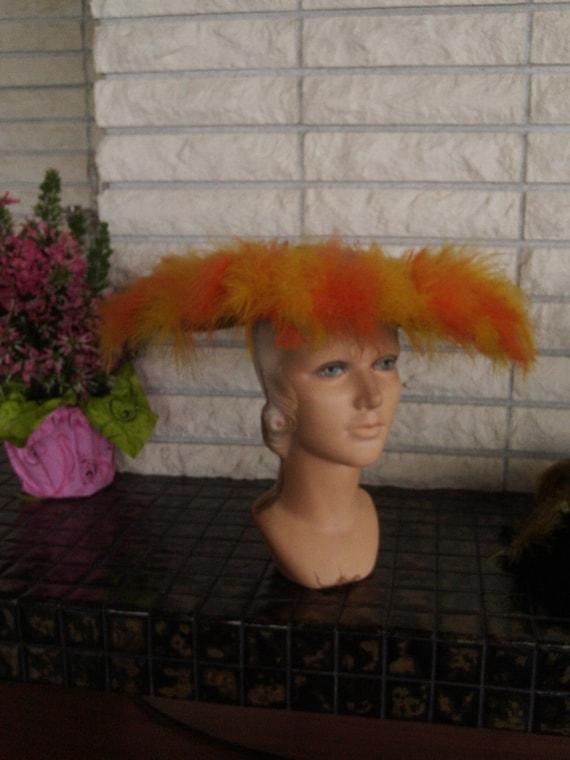 Orange Feather Picture Hat.