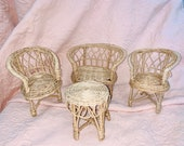 Vintage Wicker Set for Dolls or Plants Conservatory Patio furniture for the garden