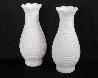 Milk glass shades etsy milk glass waffle hobnail hurricane lamp shades pair 3 fitter aloadofball Image collections