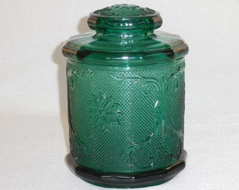 Tiara Spruce Green Sandwich Glass Canister, Biscuit Jar, Cookie Jar