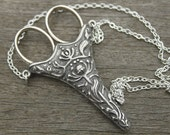 Norwegian Chatelaine with an Antique Silver Finish Etui Scissors - lacemaking and embroidery