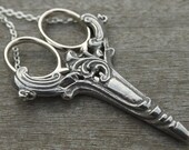 Scroll Chatelaine with an Antique Silver Finish Etui Scissors - lacemaking and embroidery