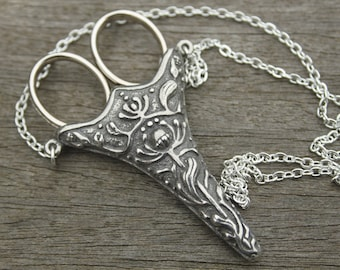 Norwegian Chatelaine with an Antique Silver Finish & Etui Scissors - lacemaking and embroidery