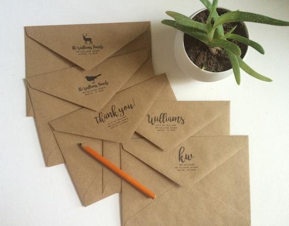 Custom Return Address Kraft Envelopes Rustic Classic Modern Etsy