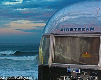 Ocean Airstream Photo Vintage Trailer Gift For Him Camping Sports Bar Glamping In Mendocino  Photography Retro Trailer Outdoor Sportsman