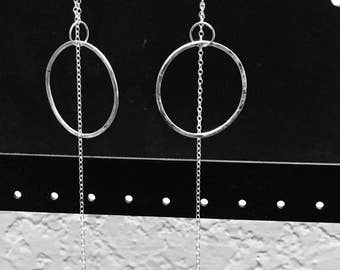 Soldered hoop Earrings Sterling Long Dangle Metalsmithing Bohemian High Fashion Runway Jewelry
