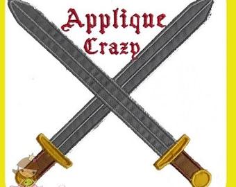 Crossed Swords Applique design