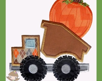 Thanksgiving Pumpkin Truck Applique design