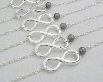 Set of 6 Bridesmaid Bracelets, 6 bridesmaid bracelets, Infinity Pearl Bracelets, Infinity and Pearl Bridesmaid Jewelry, bridesmaid gift