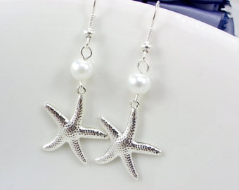 Starfish Bridesmaid Gift, Bridesmaid Earrings, pearl earrings,Starfish Beach Weddings,Bridesmaid Earring, pearl earrings,beach earrings