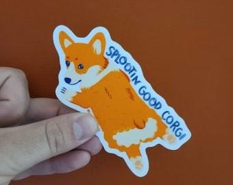 Splootin Good Corgi Sticker - matte vinyl, waterproof