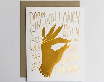 Damn Girl Engagement   greeting card with envelope, gold foil, ring, celebrating, marriage, wedding
