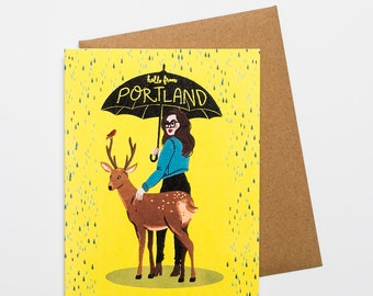 Hello from Portland   greeting card w/ envelope