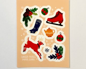 "4x6"" Holiday Sticker Sheet - Matte vinyl, waterproof, 9 stickers"