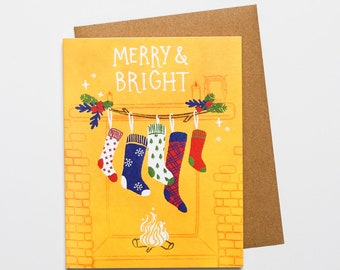Merry & Bright - A2 Greeting Card with Envelope   holiday, christmas, stockings