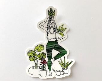 "Plant Lady Sticker - matte finish, waterproof, vinyl 3x4"" sticker"