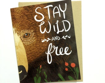 Wild and Free Bear - A2 Greeting Card with Envelope