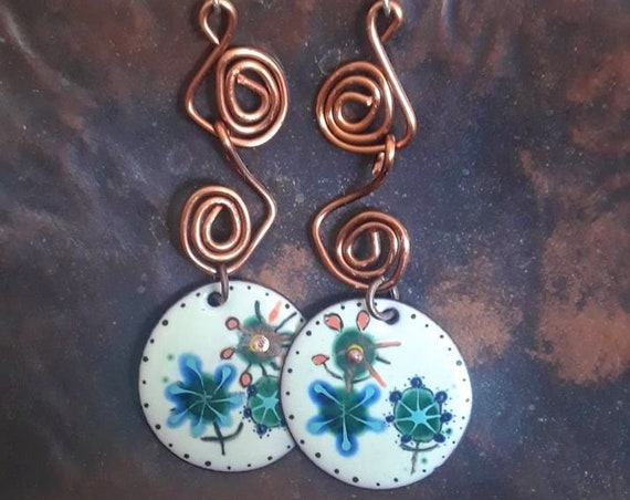 "They Danced - 3"" handmade copper and enamel earrings, sterling silver ear wires"