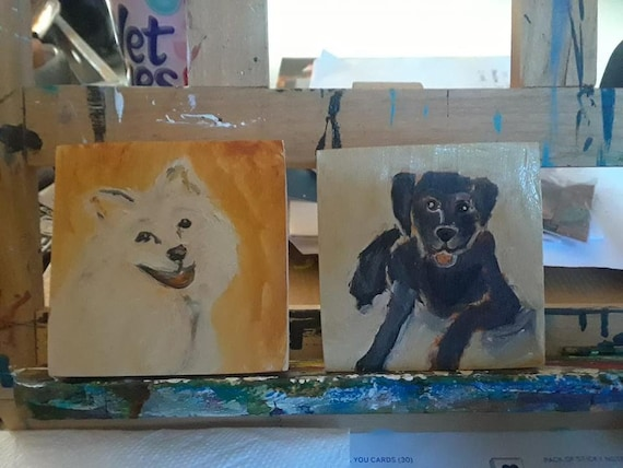 "3"" x 3"" Custom portrait of a favorite pet, great gift idea, holidays, pet painting, dog painting, cat painting, surprise"