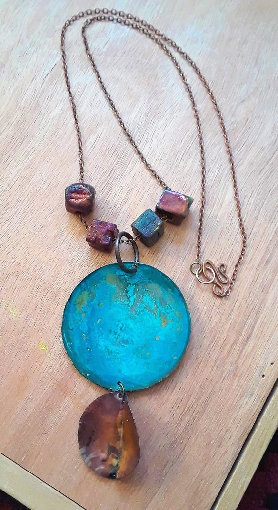 Trees make you feel better.  Handmade copper and brass necklace, 20""