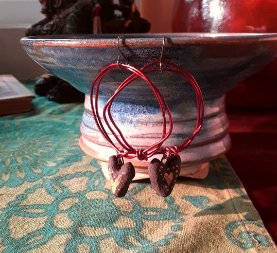 """Love to the world - Handmade recycled copper, ceramic and sterling silver earrings, 2 1/2"""", handmade earrings, handmade jewelry, holidays"""