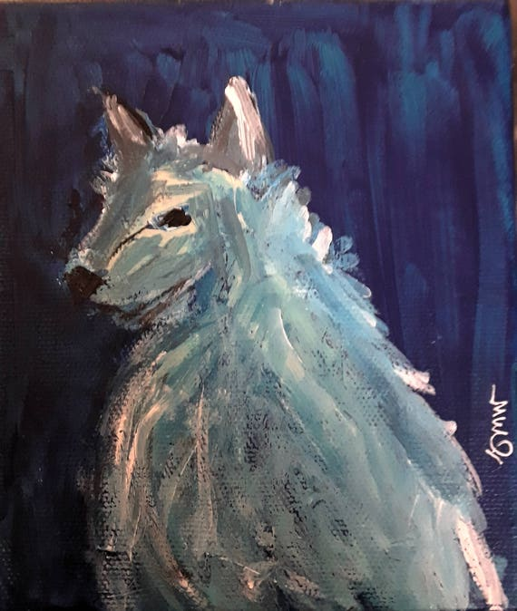 "Blue - 6"" x 6"" acrylic on canvas painting, art, animal art, blue, american art, american painting, juliette morris williams, small art"