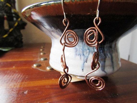 """Handmade lightly oxidized copper earrings - 3"""" - 'Spiral II'"""