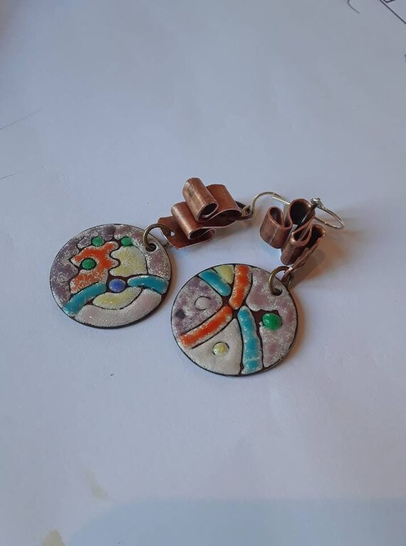 Leaps and Bounds - Handmade enamel, copper and sterling silver earrings, holiday gift, handmade earrings, handmade copper jewelry, artisan